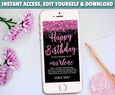 Welcome to my Etsy Shop Electronic Cards, Electronic Invitations, Neon Birthday, Happy Birthday Me, Birthday Photo Booths, Birthday Photos, Glitter Text, Pink Glitter, Sms Message