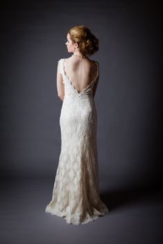 Open Back Stretch Allencon Lace Ivory White Lace Trim Stretch Silk Charmeuse Beach Outdoor Wedding Dress Bridal Gown