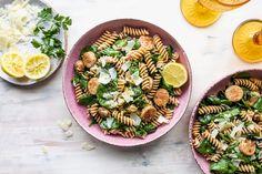 Chicken Sausage & Spinach Skillet Pasta with Lemon & Parmesan Chicken Sausage, Skillet, Spinach, Lemon, Parmesan Recipes, Pasta, Salad Recipes, Dinner, Dining