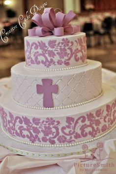 "One of my favorites.  I like the color. Use fondant on the top and write  Line 1 - ""Amelia Reese"" Line 2 - ""Baptism"" Line 3 - ""August 4, 2013"""