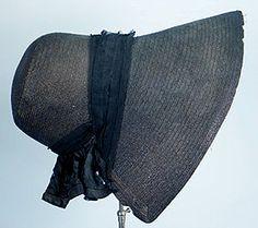 Black Straw Mourning Bonnet, 1830s.