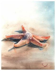 Starfish Drawing, Starfish Painting, Starfish Art, Seashell Art, Beach Watercolor, Watercolor Artwork, Watercolor Animals, Watercolor Print, Watercolor Paper