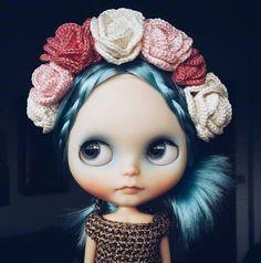 Ooak blythe doll blue hair