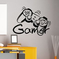 Game Controller Gamer Wall Decal Game Zone Wall Decals Vinyl Stickers Joystick Playing Playstation Game Boy Nursery Kids Playroom Decor Q080 #walldecals #lettering #vinylstickers #quotes http://www.amazon.com/dp/B00WJMD3P6/ref=cm_sw_r_pi_dp_UxHtvb13FEG23