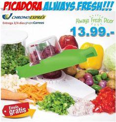 #cocina #regalos #menaje #recipientes #picadoras #always #yougamebay #verduras Picadora de verduras Always fresh Dicer. Regalos de cocina a precios baratos con envío incluido. http://www.yougamebay.com