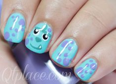 Monster inc Sully nails | Want my nails like this for Zaiden's birthday