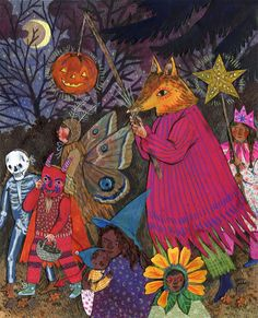 Halloween Parade ©Phoebe Wahl 2015. Watercolor, collage, colored pencil. For October in Taproot Magazine's 2016 Calendar. Come by my table TODAY, Oct. 31st at Short Run Comix & Arts Festival from 11-6, Fisher Pavillion at Seattle Center!