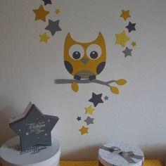 Dispo - stickers hibou et ses 16 étoiles - jaune et gris