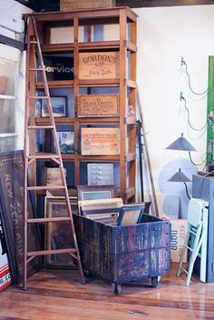 reclaimthat Ladder Bookcase, Shelves, My Favorite Things, Retro, Projects, Inspiration, Home Decor, Style, Repurpose