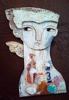 Angel with Wing  Wall art in Reclaimed Wood by AlteredbyThelma, $175.00