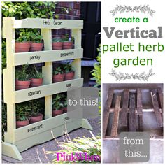 A step by step guide on how to turn a pallet into a vertical free standing herb garden.  Perfect for small spaces and apartments. From pinkwhen.com.
