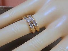 Diamond Wedding Ring Set .35Ctw Yellow Gold by estatejewelryshop