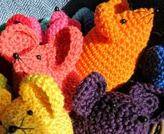 Crochet - Rainbow Mouse Pattern. £2.60, PlanetPennyUK on Etsy. Third view.
