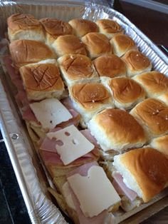 Ham and Cheese Sliders - great for making in large batches, or as appetizers ( nice little trick !)
