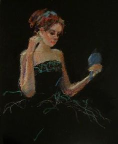 Connie Chadwell's Hackberry Street Studio: Mandy's Blue Mirror - original oil pastel figurative drawing by Connie Chadwell