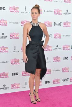 2.23.13  Jennifer Lawrence in Lanvin S/S13 w/ Giuseppe Zanotti sandals to the Film Independent Spirit Awards