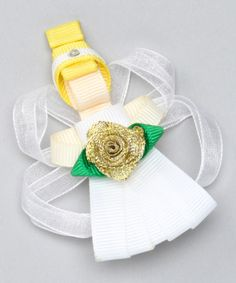 Take a look at this White Angel Clip by Bubbly Bows on #zulily today!