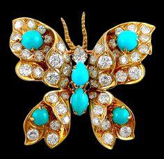 BULGARI Diamond Turquoise Butterfly Pin
