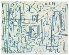 Pablo Picasso Sketch for Las Meninas - Cannes, 16 August 1957 -   Picasso museum Barcelona
