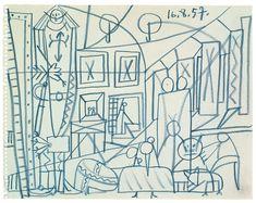 Pablo Picasso Sketch for Las Meninas - Cannes, 16 August 1957 -   Picasso museum Barcelona
