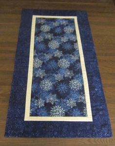 Blue Batik Winter Snowflake Table Runner by QuiltingGranny on Etsy