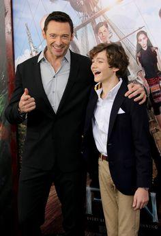 "Hugh Jackman fan blog HughJackMania — Hugh Jackman and Levi Miller attend ""Pan"" premiere..."
