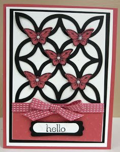 Primrose Petals, Whisper White and Basic Black card stock. Basic Black ink. Lattice Bigz Die, Polka Dot EF, Bitty Butterfly punch, Primrose Petals Satin Stitched Ribbon, Basic Pearls, Dimensionals and glue dots.