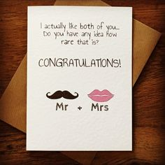 Sweet and funny wedding congratulations card
