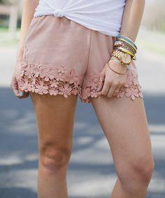 Three Bird Nest Blush Crochet-Trim Shorts - Women | zulily