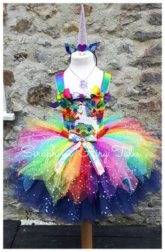 Rainbow Unicorn Dress. Double Lined 4 layer Glitter Party Dress. Horn Headband Included. Handmade By Seraphina Fairy Tales. Free Necklace!