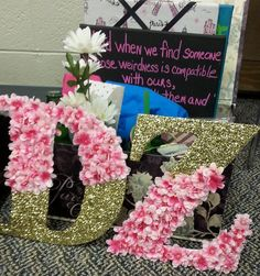 sorority sugar but the tissue paper letters instead of the flowers