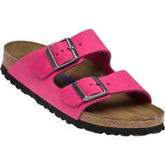 BIRKENSTOCK Arizon Hot Pink Sandal ($145) ❤ liked on Polyvore featuring shoes, sandals, hot pink, leather upper shoes, hot pink shoes, hot pink sandals, synthetic shoes and birkenstock