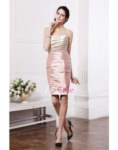 Elastic Woven Satin Beading Cocktail Dress
