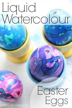 Decorating Easter Eggs with Liquid Watercolours - Happy Hooligans Cool Easter Eggs, Easter Egg Dye, Easter Art, Easter Crafts For Kids, Easter Ideas, Easter Stuff, Children Crafts, Easter Projects, Easter Food
