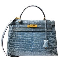 Rare Hermes Blue Jean Porosus Crocodile 32 Kelly GHW | From a collection of rare vintage top handle bags at https://www.1stdibs.com/fashion/handbags-purses-bags/top-handle-bags/