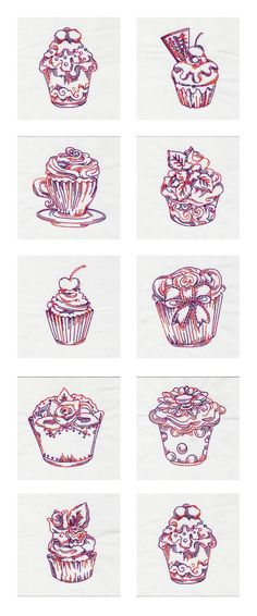 Embroidery Machine Designs - Fancy RW Cupcakes Set