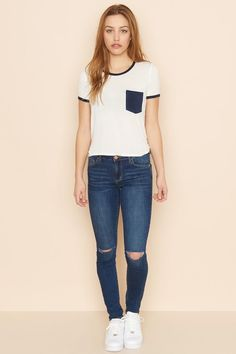 Ever Blue Knee-Slash High Waist Jegging