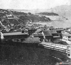 View from Telegraph Hill of Golden Gate prior to North Beach landfilled.