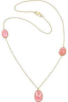 Pippa Small 18-karat gold rhodochrosite necklace
