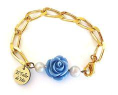 PULSERAS CON CADENA - trío de estrellas ♥ - dorado y azul - El Taller de Mir Chain Bracelets, Necklaces, Jewerly, Gold, Amazing, Easy, Inspiration, Bracelets, Stud Earrings