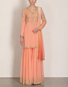Peach Ombre Sharara Set-MALASA- img1