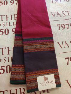 Pinkish Maroon Pure Kanchi Cotton saree
