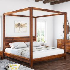 Osteen Contemporary Style Solid Wood Low Height Platform Canopy Bed Platform Canopy Bed, Wood Canopy Bed, Canopy Bed Frame, Diy Bed Frame, Diy Canopy, 4 Poster Bed Canopy, Modern Canopy Bed, Canopy Bedroom Sets, Low Platform Bed