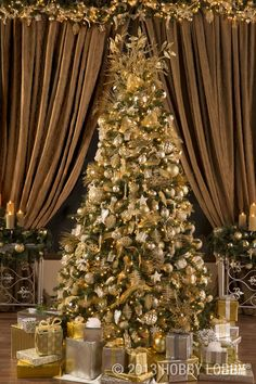 Make your Christmas tree sparkle bright with gold and silver decorations. (Holiday decor in stores only.)