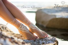 Light Beige Barefoot Sandals, Nude shoes, Foot jewelry, Wedding, Victorian Lace, Sexy Yoga, Anklet,O