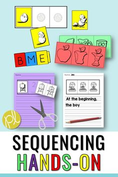 Sequencing Activities - Add these hands-on sequencing task cards to your centers! They are all three-part event and have writing pages to add. There over 65 low-prep sets to practice all year. I used these in my reading intervention groups with students who were working on specific speech and language objectives. #sequencecenters #readingintervention