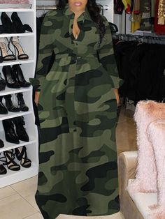 Camo Fashion, Trend Fashion, Denim Fashion, Camouflage Fashion, Long Sleeve Maxi, Maxi Dress With Sleeves, The Dress, Cheap Dresses, Casual Dresses
