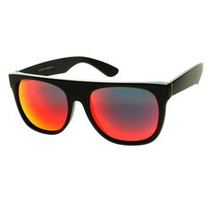 Red Mirror Lens Flat Top Matte Black Sunglasses FT375