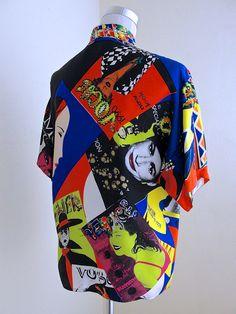 "Gianni Versace Couture ""Vogue Print"" Silk Blouse"