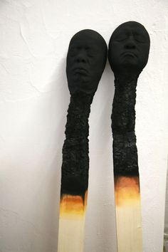 Matchstickmen: Burnt Matches Resembling Charred Human Heads by Wolfgang Stiller  wood sculpture matches